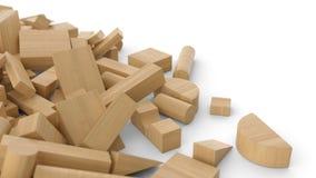 Pila di mattoni di legno 1 Immagini Stock
