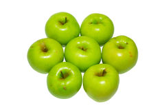 Pila di mele verdi fotografia stock