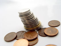 Pila di monete Fotografie Stock