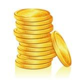 Pila di monete di oro Fotografia Stock