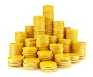 Pila di monete di oro Fotografia Stock Libera da Diritti