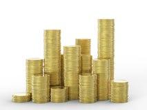 Pila di monete di oro Immagine Stock