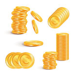 Pila di monete di oro con gli euro segni Concetto di affari Immagini Stock Libere da Diritti
