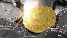 Pila di monete differenti con la moneta dorata del dollaro sulla parte anteriore pila del renderingHuge 3D di cryptocurrencies co illustrazione vettoriale