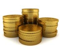 Pila di monete dorate Fotografia Stock