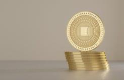 Pila di monete dorate come esempio per tecnologia cripto virtuale di valuta, del bitcoin e del blockchain illustrazione di stock