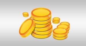 Pila di monete dorate illustrate su fondo bianco Fotografia Stock