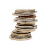 Pila di monete internazionali Immagini Stock Libere da Diritti