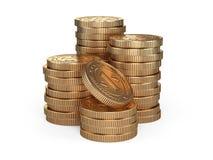 Pila di monete di oro Concetto del premio dei soldi Fotografia Stock Libera da Diritti