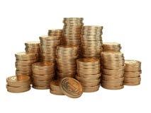 Pila di monete di oro Concetto del premio dei soldi Immagini Stock Libere da Diritti