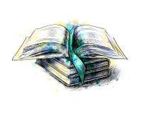 Pila di multi libri colorati illustrazione vettoriale