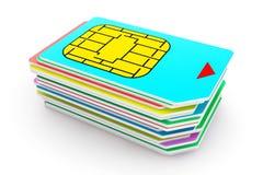 Pila di Mutlicolored SIM Cards Fotografia Stock Libera da Diritti