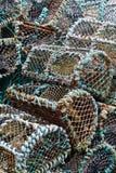 Pila di nasse per crostacei tradizionali Fotografia Stock