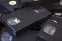Pila di nastri a cassetta di VHS Immagini Stock Libere da Diritti