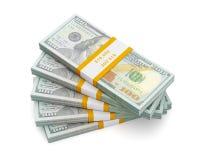 Pila di nuovi 100 dollari americani 2013 di banconote dell'edizione (fatture) s Fotografie Stock