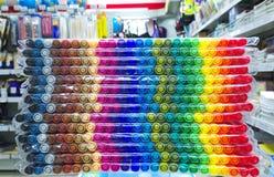 Pila di pacchetti della penna delle penne a feltro Fotografia Stock Libera da Diritti