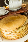 Pila di pancake sottili Immagine Stock Libera da Diritti