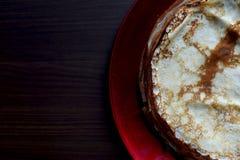 Pila di pancake su un piatto Fotografia Stock Libera da Diritti