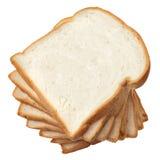 Pila di pane affettato su fondo bianco Fotografie Stock Libere da Diritti
