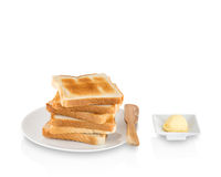 Pila di pane tostato con burro Fotografia Stock