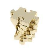 Pila di pezzi lucidi del puzzle di puzzle isolati Fotografia Stock