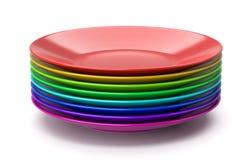 Pila di piatti variopinti illustrazione vettoriale