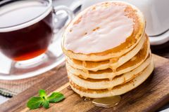 Pila di piccoli pancake Fotografie Stock