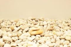 Pila di pietre liscie rotonde su una spiaggia Fotografia Stock