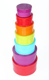 Pila di qualche colorata rotondo le caselle Fotografia Stock