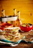 Pila di quesadille con la ciotola del guacamole Immagini Stock Libere da Diritti