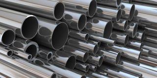 Pila di rappresentazione d'acciaio della tubazione 3d Fotografia Stock Libera da Diritti