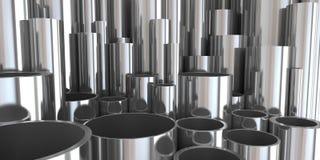 Pila di rappresentazione d'acciaio della tubazione 3d Immagini Stock Libere da Diritti