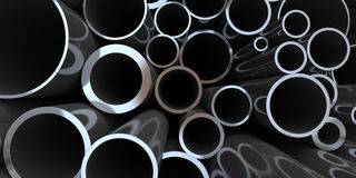 Pila di rappresentazione d'acciaio della tubazione 3d Immagine Stock