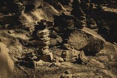 Pila di roccia in BW Fotografie Stock