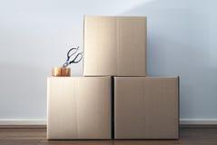 Pila di scatole commoventi Fotografia Stock Libera da Diritti