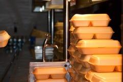 Pila di scatole di pranzo Fotografie Stock Libere da Diritti