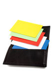 Pila di schede variopinte nel supporto di scheda Immagine Stock Libera da Diritti