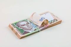 Pila di soldi ucraini Fotografia Stock