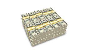 Pila di Stati Uniti 100 fatture del dollaro Fotografie Stock Libere da Diritti