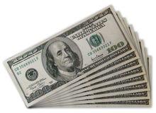 Pila di Stati Uniti 100 fatture del dollaro Fotografia Stock Libera da Diritti