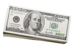 Pila di Stati Uniti cento valute di fatture del dollaro Fotografie Stock