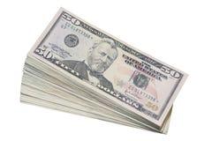 Pila di Stati Uniti cinquanta fatture del dollaro Fotografie Stock Libere da Diritti