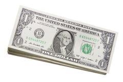 Pila di Stati Uniti lle fatture dell'un dollaro Fotografie Stock