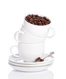 Pila di tazze di caffè Fotografie Stock