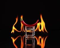 Pila di tequila su fuoco Fotografie Stock Libere da Diritti