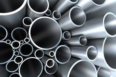 Pila di tubazione d'acciaio Fotografia Stock