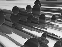 Pila di tubazione d'acciaio 3d Fotografie Stock Libere da Diritti