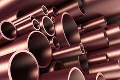 Pila di tubazione d'acciaio Immagine Stock