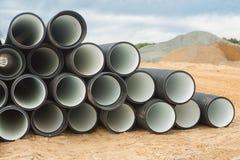 Pila di tubi costolati Fotografia Stock