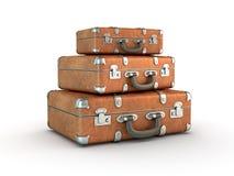 Pila di valigie di corsa Immagine Stock